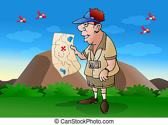 tourist cross country - illustration of a tourist hold map...