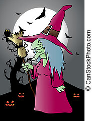 the scary witch - color illustration of the scary witch...
