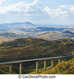 Highway Bridge - Landscape of Sicily with Highway Bridge