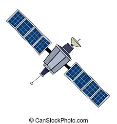Large Space Satelite - A large outer space satelite with...