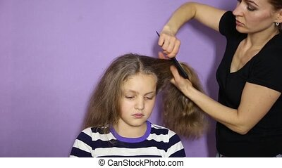 Weave a little cute girl pigtails. The Barber makes a girl...
