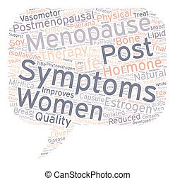 Hormone Therapy Reduced Physical Post Menopausal Symptoms text background wordcloud concept