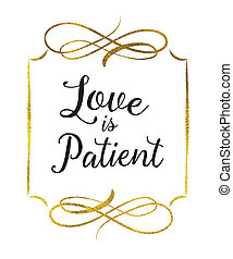 Love is Patient typography Bible Scripture art design...