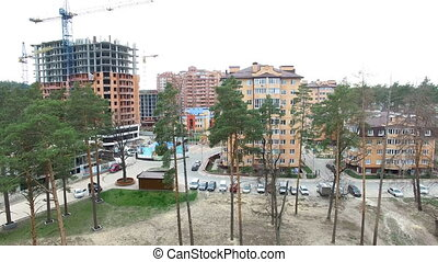 Construction of apartment houses. view from above with...