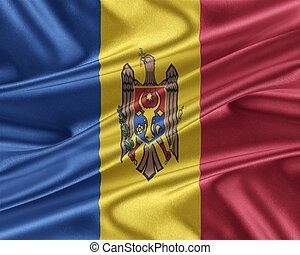 Moldova flag with a glossy silk texture. - Moldova flag....