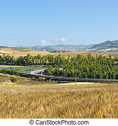 Highway Interchange - Landscape of Sicily with Highway...