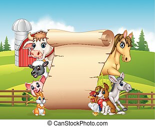 Cartoon funny farm animals with blank sign - Vector...