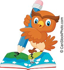 Cartoon owl drawing on a book - Vector illustration of...
