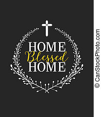 Home Blessed Home Cross Logo Typographic Poster Design with...