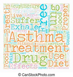 How Asthma Sufferers Can Live Drug Free and Breathe Freely text background wordcloud concept