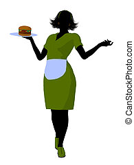 Waitress Illustration Silhouette - Female waitress...
