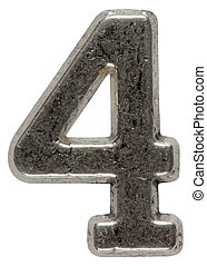 Metal numeral 4 four, isolated on white background, with...
