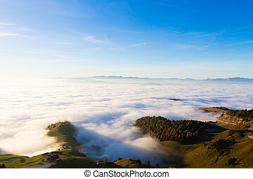 Carpet of clouds from mountain top - Panorama from Italian...