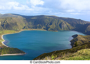Lake Fogo, Sao Miguel Island, Azores, Portugal. - Lagoa do...