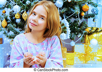 angelic daughter - Happy eight year old girl in pajama...
