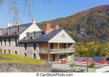 Houses on the street of historic town in Harpers Ferry National Historical Park, West Virginia, USA.