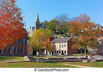 Harpers Ferry historic town in autumn, West Virginia, USA. -...