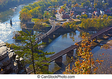 A view on Harpers Ferry town from the outlook in autumn. -...
