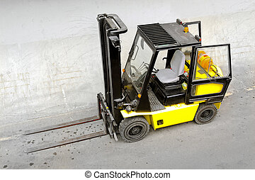 Forklift - Gas powered forklift transport vehicle in...