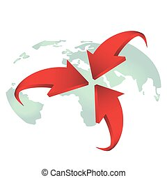 Red arrows on earth vector for design.