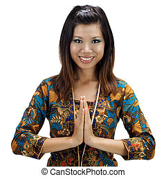 Asian female - Southern Thai Muslim woman in a traditional...