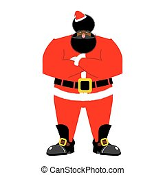 Grumpy black Santa. Angry African Claus. irate Christmas...