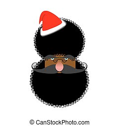 Black Santas face. African American in Claus hat. Afro...