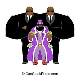 Pimp and bodyguard. Bright clothing and money. Pocket full of cash. Gold dollar chain jewelry. African American and guards, security