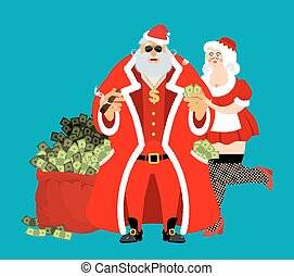 Cool Rich Santa and girl. Red bag with money. Claus with cigar after work relax. Pocketful of cash. Earnings for Christmas. tough old man and Mrs. Claus. Xmas gainings. New Year income wealth. well-earned. Gold dollar on chain