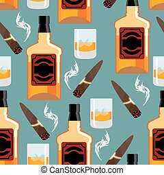 Whiskey with ice seamless pattern. Gentleman background. Bottle of scotch texture. Cigar smoke ornament. bar backdrop
