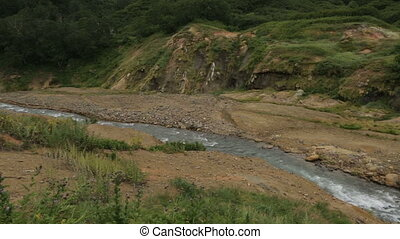 Geysernaya River in Valley of Geysers. Kamchatka Peninsula...