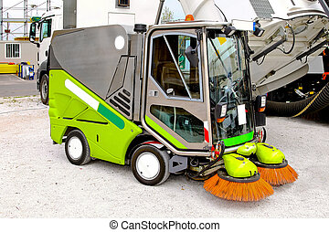 Street cleaner - Close up shot of street cleaner machine