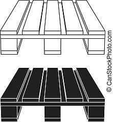 wooden pallet black symbol - illustration for the web