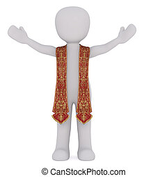 3D figure of spiritual leader stretches his arms while...