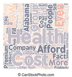 How To Compare Low Cost Health Insurance In Alabama text background wordcloud concept