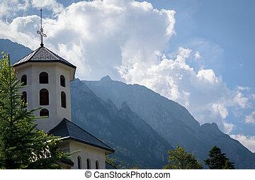 山, 塔, 背景, 教堂