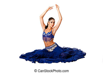 Belly dancer sitting on floor - Beautiful Israeli Egyptian...