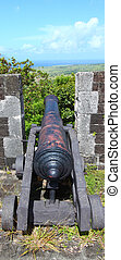 Brimstone Hill Fortress - St Kitts - A cannon faces the...