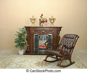 fireplace and rocking chair - wooden fireplace and rocking...