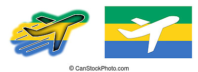 Nation flag - Airplane isolated - Gabon - Nation flag -...