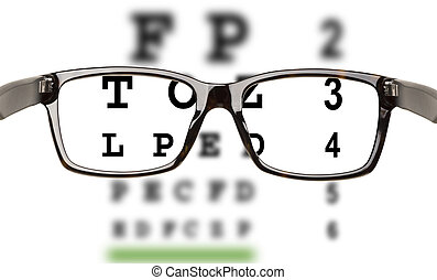 Eyeglasses with eyesight test and partial blur. White...