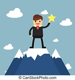 Businessmen go to the top of mountain. Success concept