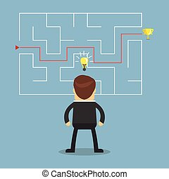 Businessman with a maze and think about solution to success.