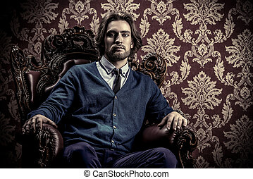 old styled look - Fashionable male model in elegant...