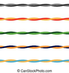 Colored Wires threads or rope with seamless pattern, vector....
