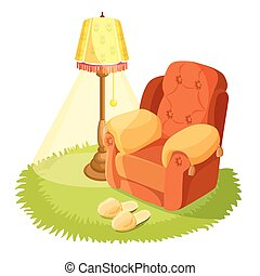 Cosy armchair with cushions, yellow torchere, round grass...