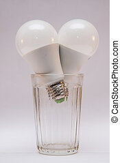 white bulbs in a glass on white background