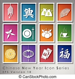 Abstract chinese new year icon. Illustration, EPS 10