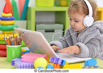 cute little girl listen to music