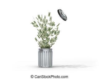 voler, concept, déchets, argent, recyclage, Illustration,...